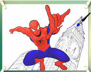 Spiderman flying coloring j�t�k